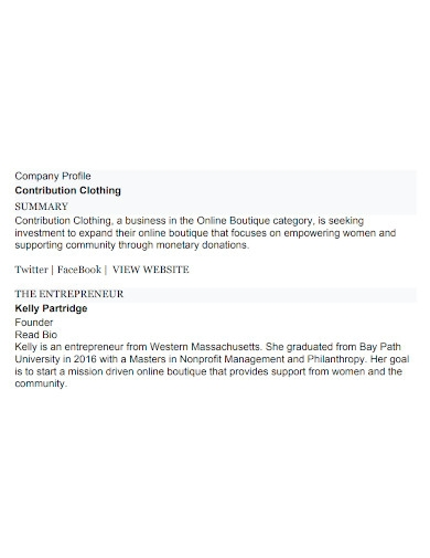 online boutique company profile
