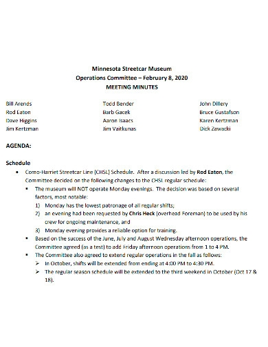 operations committe meeting minutes