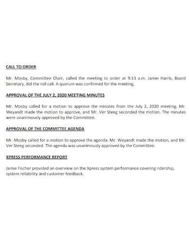 operations meeting minutes format