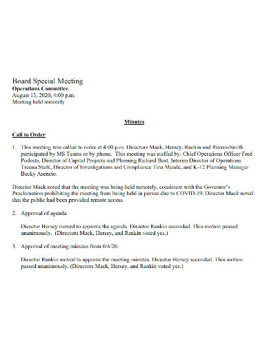 operations meeting minutes sample