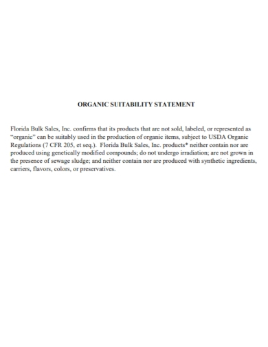 organic suitability statement