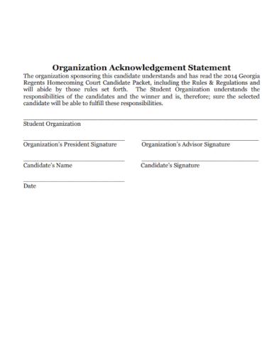 organization acknowledgement statement