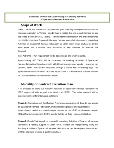 outsourcing statement and scope of work