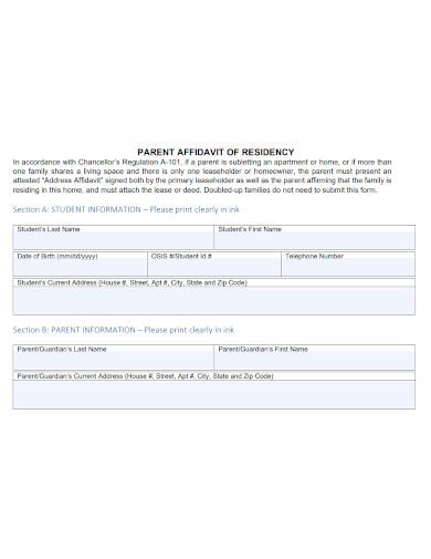 parent affidavit of residence