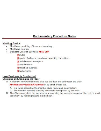 parliamentary procedure note