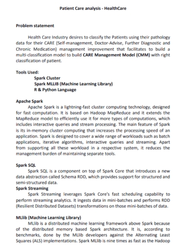 patient care analysis problem statement