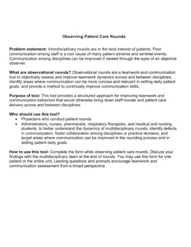 patient care observation problem statement