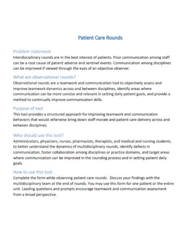 patient care problem statement
