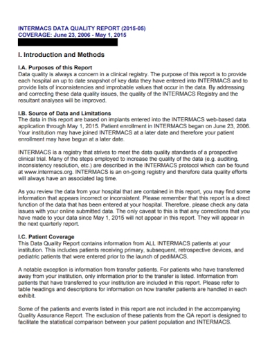 patient data quality report