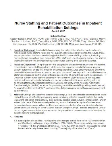 patient outcome problem statement
