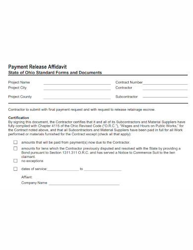 payment release affidavit