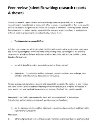 peer scientific review report