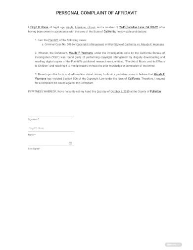 personal complaint of affidavit template