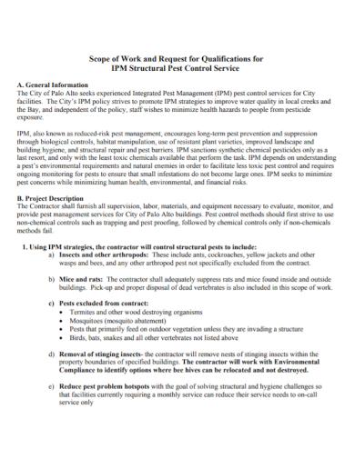 pest control contractor scope of work