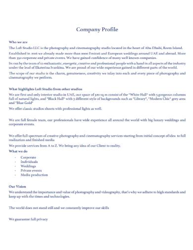 photography studio company profile