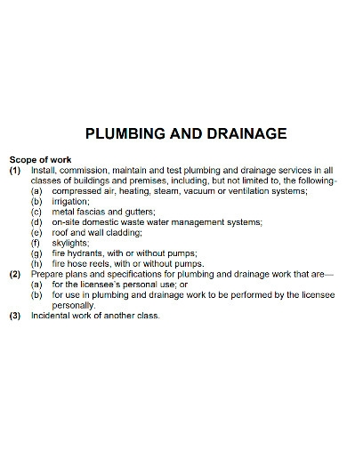 plumbing and drainage scope of work