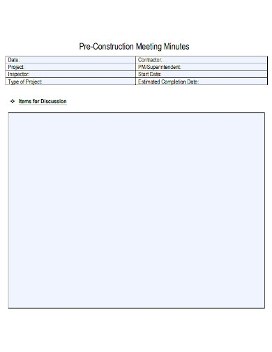 pre construction meeting minutes