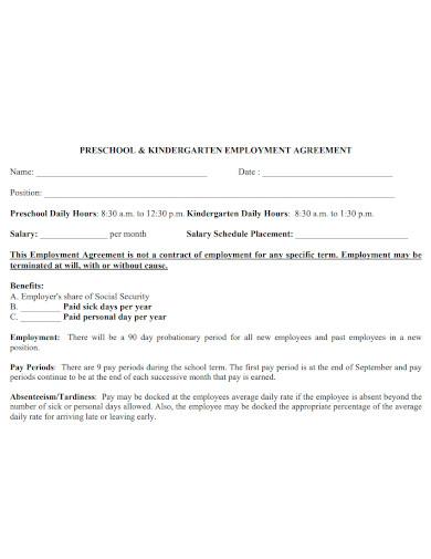 preschool and kindergarten teacher employment agreement
