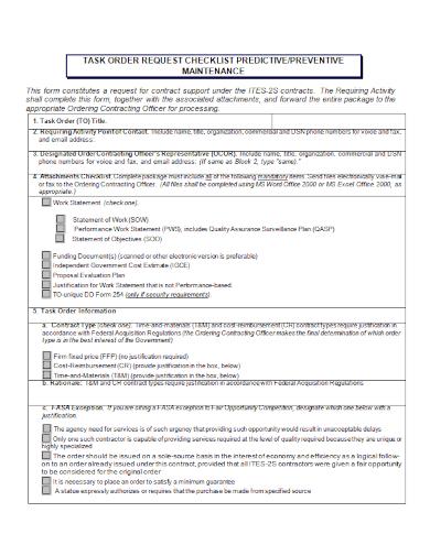 predictive preventive maintenace checklist