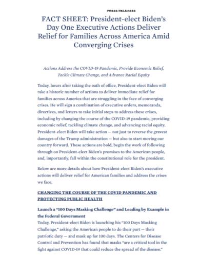 president press release fact sheet