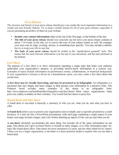 press release brand fact sheet