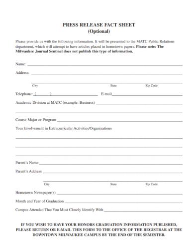 press release fact sheet