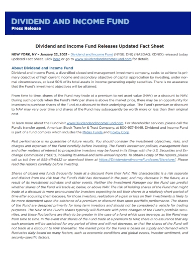 press release income fund fact sheet