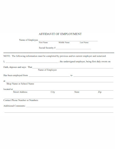 printable affidavit of employment