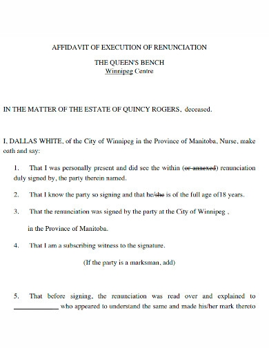 printable affidavit of execution