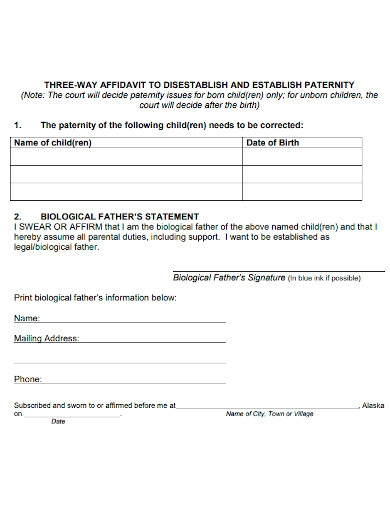 printable affidavit of paternity