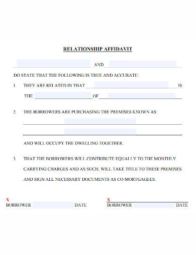 printable affidavit of relationship