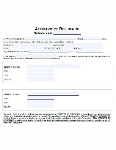 printable affidavit of residence
