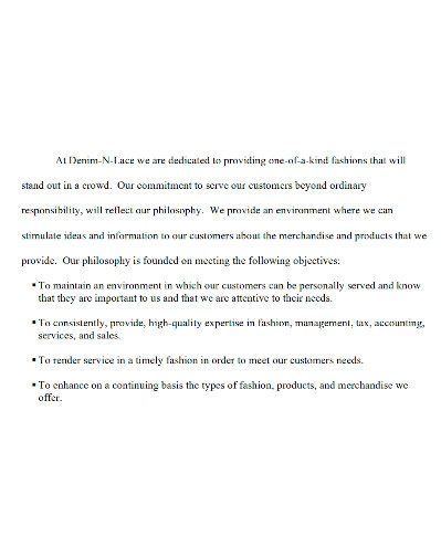 printable boutique company profile
