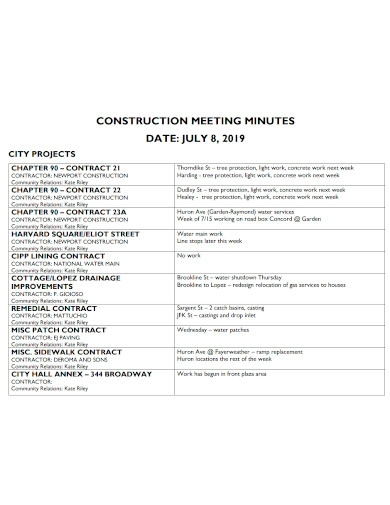 printable construction meeting minutes