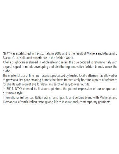 printable fashion company profile