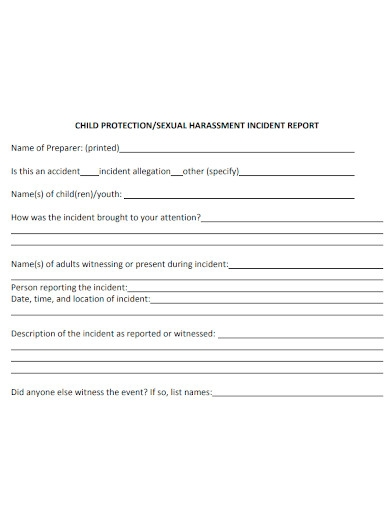 printable harassment incident report