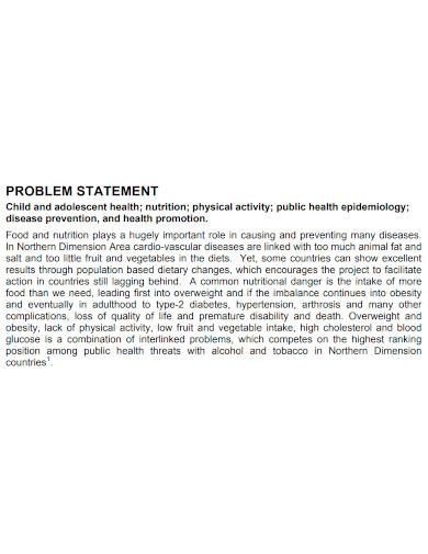 printable health problem statement