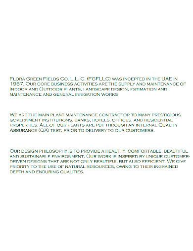 printable landscape company profile