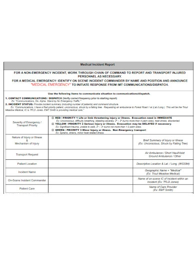 printable medical incident report