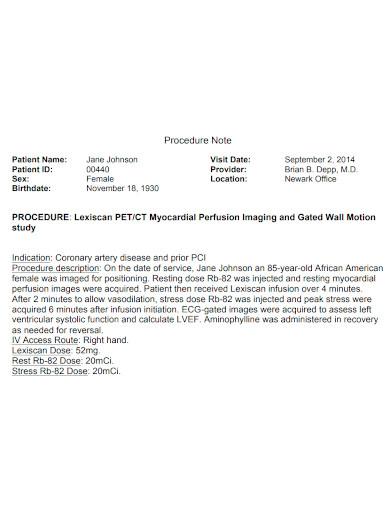 printable procedure note