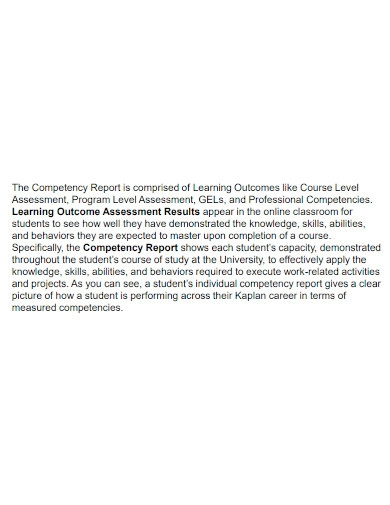printable student competency report
