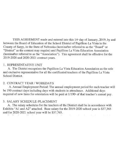 printable teacher employment agreement