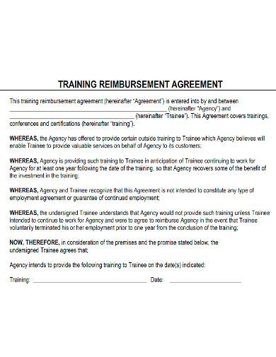 printable training reimbursement agreement