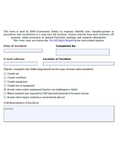 printable laboratory incident report