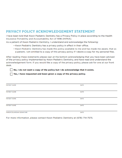 privacy policy acknowledgement statement