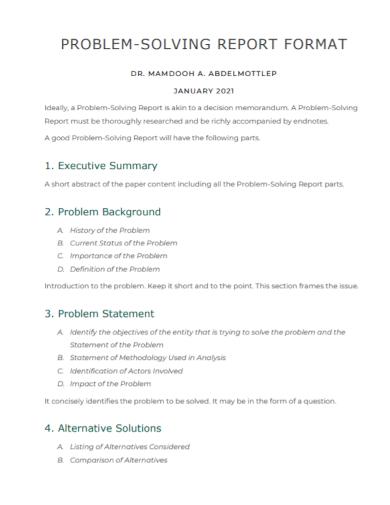 problem solving report format