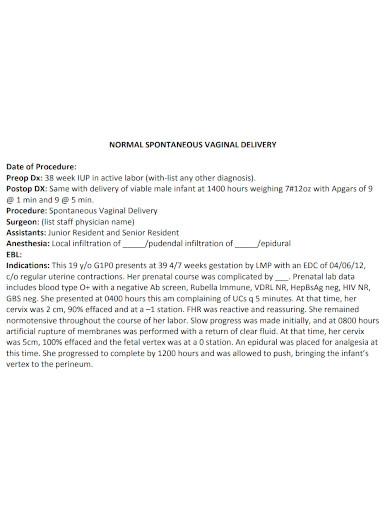 procedure note format