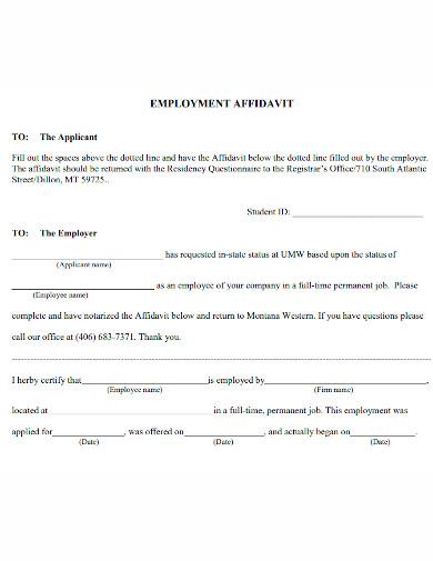 professional affidavit of employment