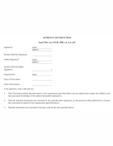 professional affidavit of execution