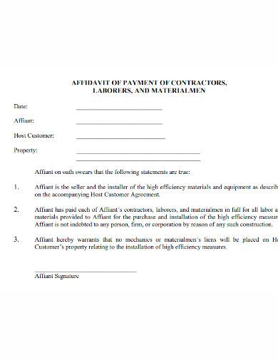 professional affidavit of payment